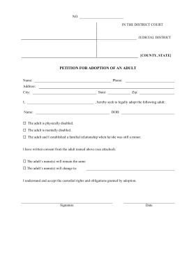 Adult Adoption Petition legal pleading template