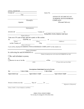 Affidavit Of Service Legal Pleading Template  Free Printable Affidavit Form