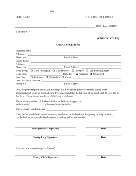 Appearance Bond legal pleading template