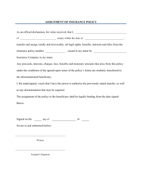 lost package insurance policy template  Printable Assignment of Insurance Policy Legal Pleading Template