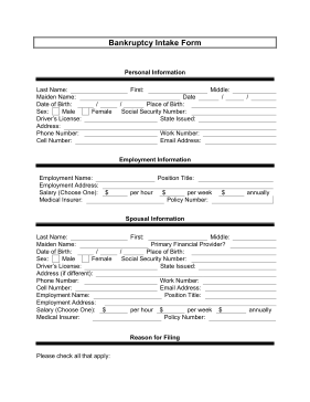 Bankruptcy Intake Form Legal Pleading Template