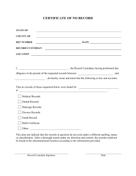 Printable Certification Of No Record Legal Pleading Template