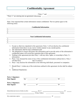 Printable confidentiality agreement legal pleading template for Privacy contract template