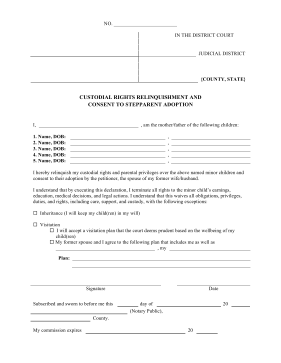 Consent Stepparent Adoption legal pleading template