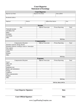 Court Reporter Statement Of Earnings legal pleading template