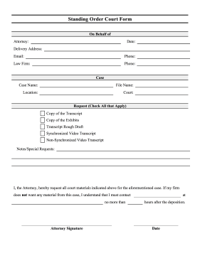Court Standing Order Form legal pleading template