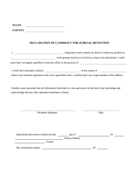 Declaration Of Candidacy For Judicial Retention legal pleading template