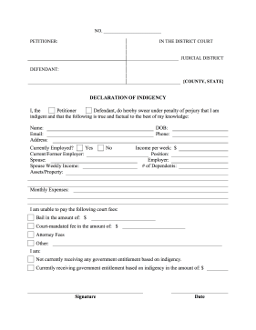 Declaration of Indigency legal pleading template