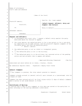 Default Request Affidavit Entry and Judgment legal pleading template