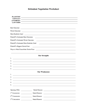 Defendant Negotiation Worksheet legal pleading template