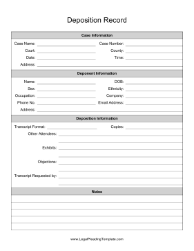 Deposition Record legal pleading template