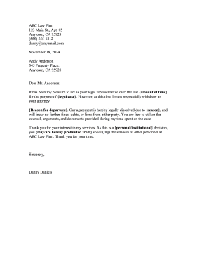 Disengagement Letter legal pleading template