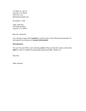 Document Request Letter legal pleading template