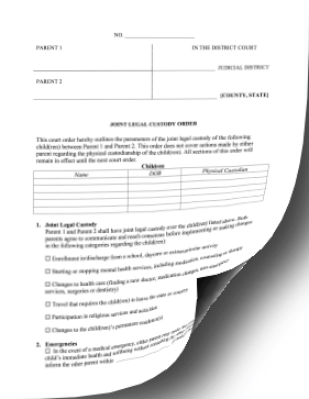 Joint Legal Custody Order legal pleading template