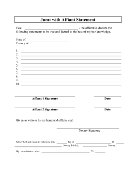 Printable Jurat Affiant Statement Legal Pleading Template