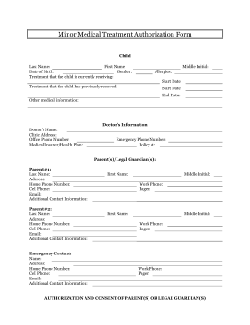 Printable minor medical treatment authorization legal for Medication consent form template