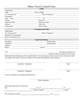 Minor Travel Consent Form Legal Pleading Template  Blank Consent Form