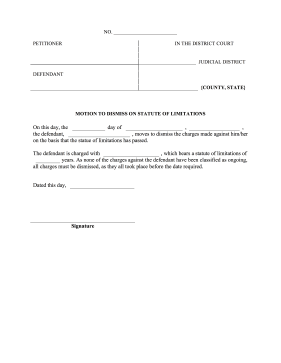 Motion To Dismiss Statute Limitations legal pleading template
