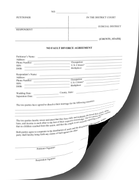 No Fault Divorce Agreement legal pleading template