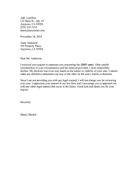 Printable Non Engagement Letter Legal Pleading Template