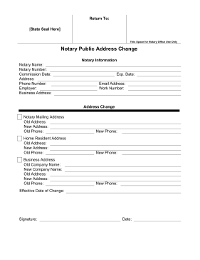 Notary Public Address Change legal pleading template