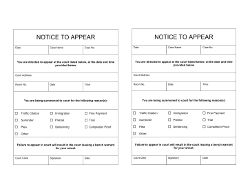 Notice To Appear legal pleading template