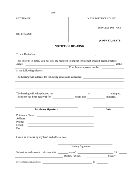 printable notice of hearing legal pleading template