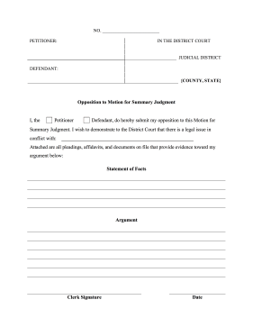 Opposition to Motion for Summary Judgment legal pleading template