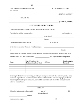 Petition to Probate Will legal pleading template