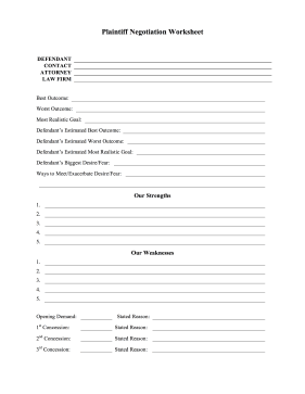 Plaintiff Negotiation Worksheet legal pleading template