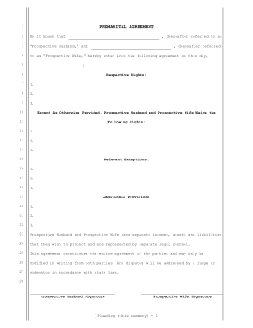 Printable Prenuptial Agreement Legal Pleading Template