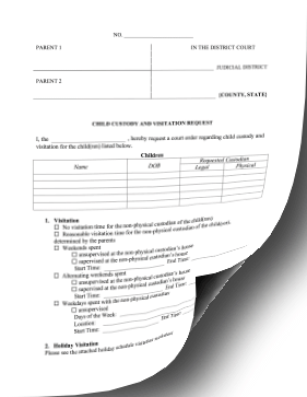 Request For Child Custody And Visitation legal pleading template