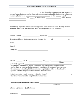 blank power of attorney form Printable Revoke Power of Attorney Form Legal Pleading Template