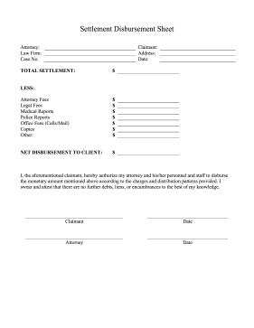 Settlement Disbursement Sheet legal pleading template