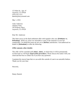 Printable Settlement Final Offer Letter Legal Pleading Template