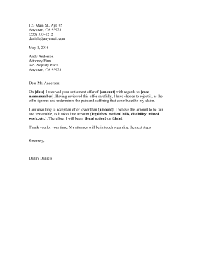 Printable Settlement Rejection Letter Legal Pleading Template