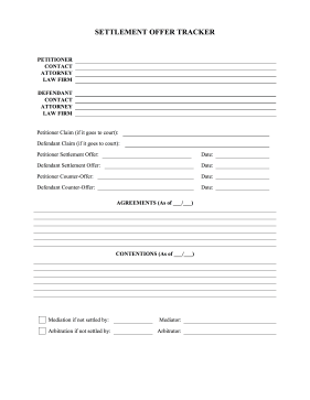 Settlement Worksheet legal pleading template