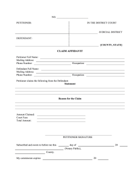 Small Claims Affidavit legal pleading template