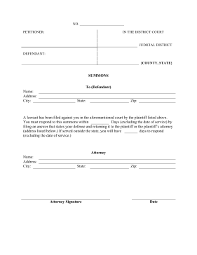 Summons legal pleading template