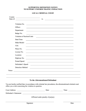 Supporting Deposition Notice legal pleading template