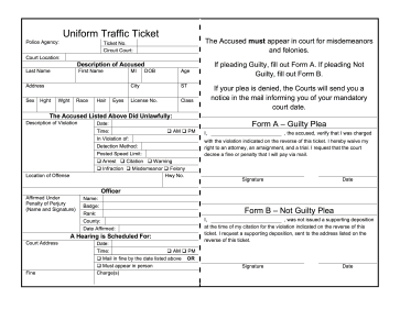 Uniform Traffic Ticket Legal Pleading Template  Blank Ticket