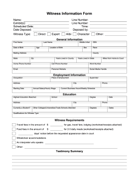 Printable Witness Information Form Legal Pleading Template